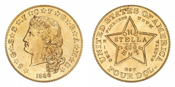 1880 Stella $4 Gold Dollars - Flowing Hair - Four Dollar Coin