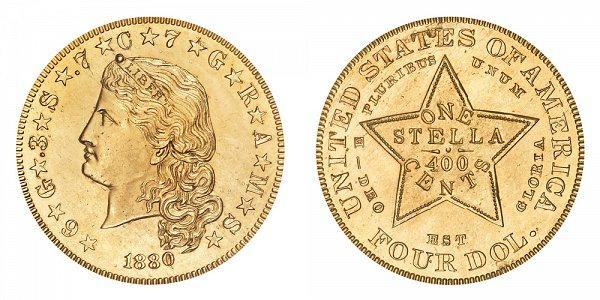 1880 Stella $4 Gold Dollars - Flowing Hair - Four Dollar Coin