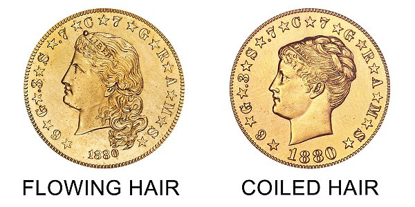 1880 Flowing Hair vs Coiled Hair Stella $4 Gold Coin - Difference and Comparison