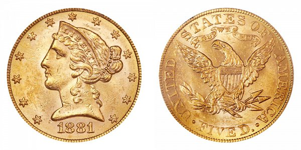 1881/0 Liberty Head $5 Gold Half Eagle - 1 Over 0 Overdate - Five Dollars