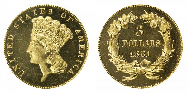 1881 Indian Princess Head $3 Gold Dollars - Three Dollars