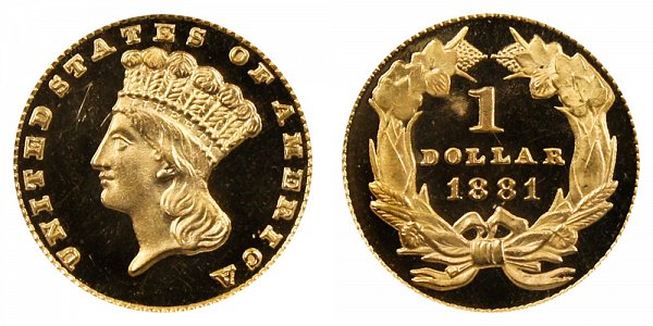 1881 Large Indian Princess Head Gold Dollar G$1