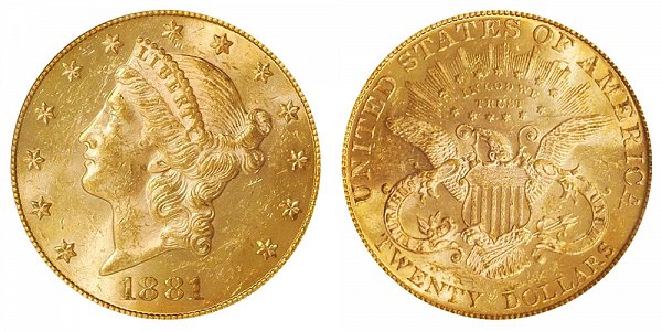 1881 Liberty Head $20 Gold Double Eagle - Twenty Dollars
