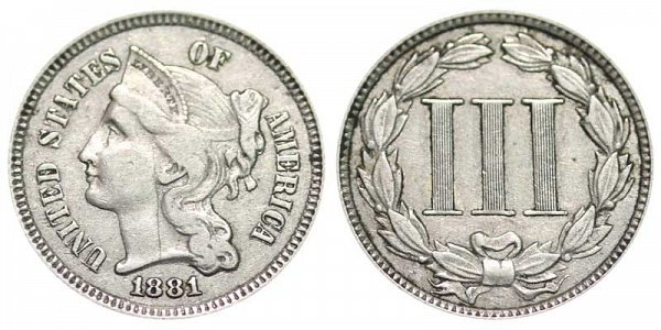 1881 Nickel Three Cent Piece