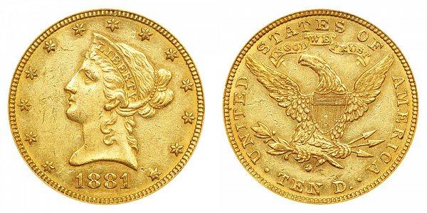 1881 O Liberty Head $10 Gold Eagle - Ten Dollars
