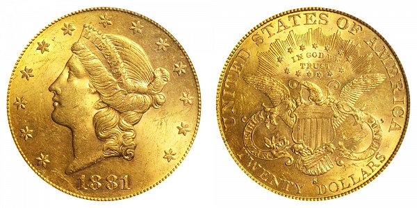 1881 S Liberty Head $20 Gold Double Eagle - Twenty Dollars