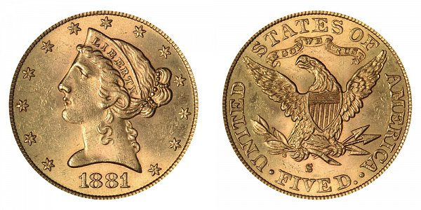 1881 S Liberty Head $5 Gold Half Eagle - Five Dollars