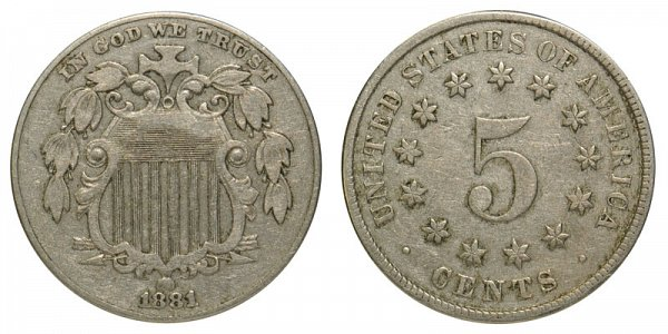 1881 Shield Nickel