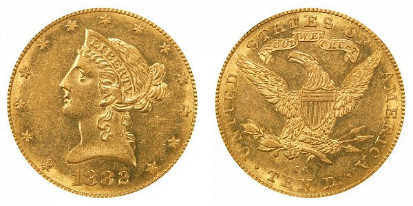 1882 CC Liberty Head $10 Gold Eagle - Ten Dollars