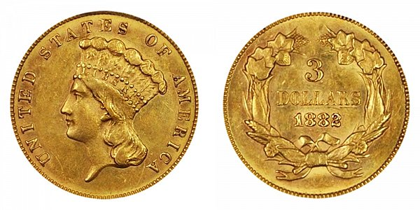 1882 Indian Princess Head $3 Gold Dollars - Three Dollars