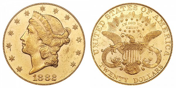 1882 Liberty Head $20 Gold Double Eagle - Twenty Dollars