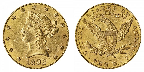 1882 Liberty Head $10 Gold Eagle - Ten Dollars