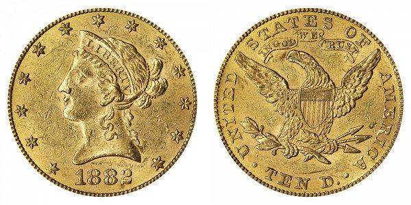 1882 Liberty Head $10 Gold Eagle - Ten Dollars
