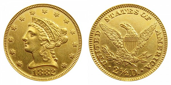 1882 Liberty Head $2.50 Gold Quarter Eagle - 2 1/2 Dollars