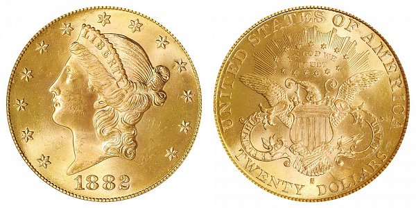1882 S Liberty Head $20 Gold Double Eagle - Twenty Dollars