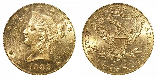 1882 S Liberty Head $10 Gold Eagle - Ten Dollars