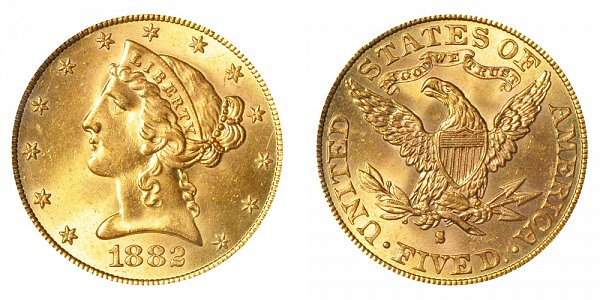 1882 S Liberty Head $5 Gold Half Eagle - Five Dollars