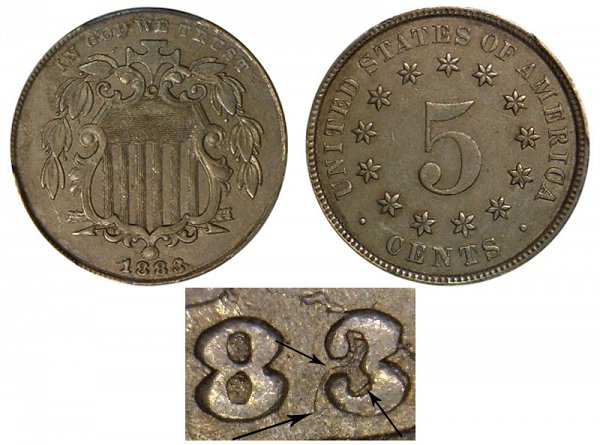 1883 3 Over 2 3/2 Overdate Shield Nickel