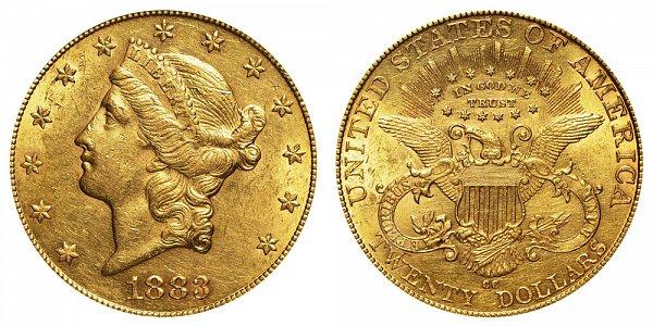 1883 CC Liberty Head $20 Gold Double Eagle - Twenty Dollars