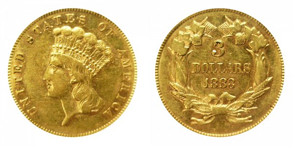1883 Indian Princess Head $3 Gold Dollars - Three Dollars
