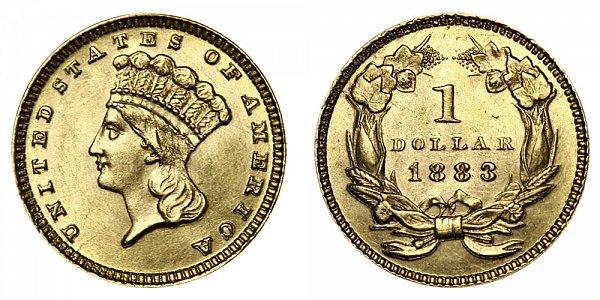 1883 Large Indian Princess Head Gold Dollar G$1
