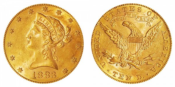 1883 Liberty Head $10 Gold Eagle - Ten Dollars