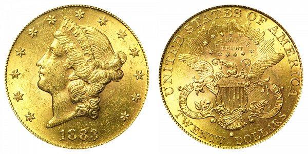 1883 S Liberty Head $20 Gold Double Eagle - Twenty Dollars