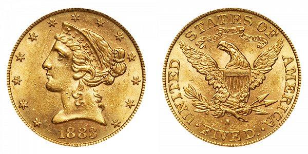1883 S Liberty Head $5 Gold Half Eagle - Five Dollars