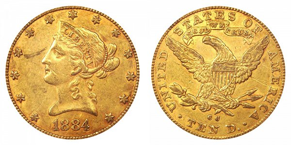 1884 CC Liberty Head $10 Gold Eagle - Ten Dollars
