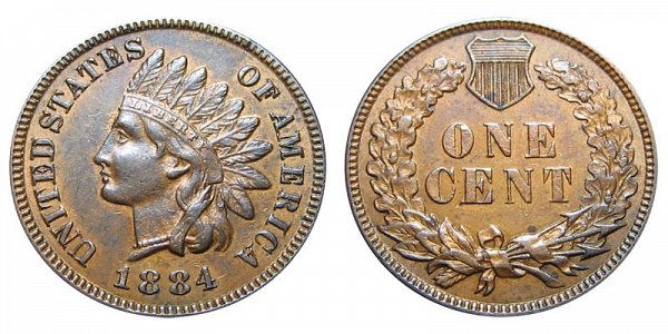 1884 Indian Head Cent Penny