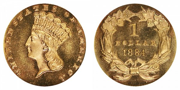 1884 Large Indian Princess Head Gold Dollar G$1