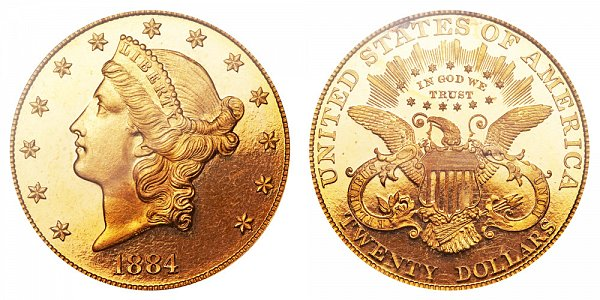 1884 Liberty Head $20 Gold Double Eagle - Twenty Dollars