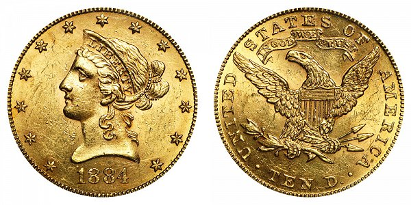 1884 Liberty Head $10 Gold Eagle - Ten Dollars