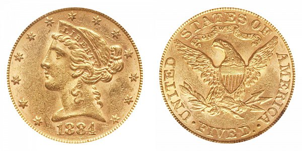 1884 Liberty Head $5 Gold Half Eagle - Five Dollars