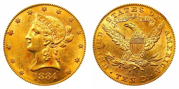 1884 S Liberty Head $10 Gold Eagle - Ten Dollars