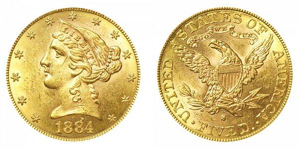 1884 S Liberty Head $5 Gold Half Eagle - Five Dollars