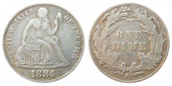 1884 S Seated Liberty Dime
