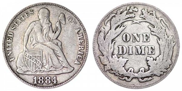 1884 Seated Liberty Dime