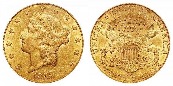 1885 CC Liberty Head $20 Gold Double Eagle - Twenty Dollars