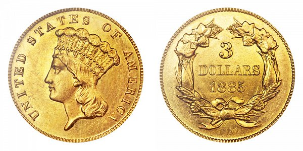 1885 Indian Princess Head $3 Gold Dollars - Three Dollars