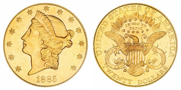 1885 Liberty Head $20 Gold Double Eagle - Twenty Dollars