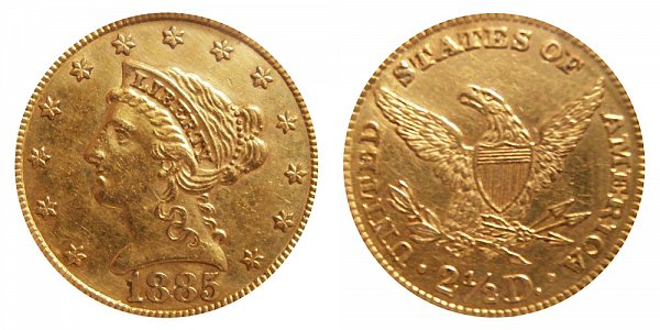 1885 Liberty Head $2.50 Gold Quarter Eagle - 2 1/2 Dollars