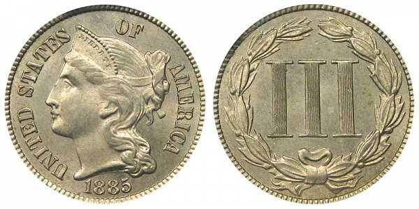 1885 Nickel Three Cent Piece