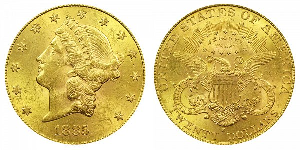 1885 S Liberty Head $20 Gold Double Eagle - Twenty Dollars