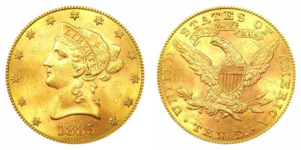 1885 S Liberty Head $10 Gold Eagle - Ten Dollars