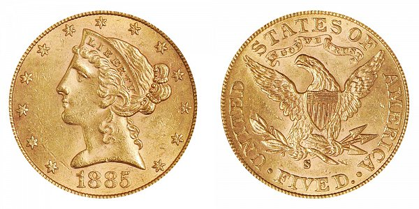 1885 S Liberty Head $5 Gold Half Eagle - Five Dollars