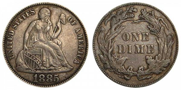 1885 Seated Liberty Dime