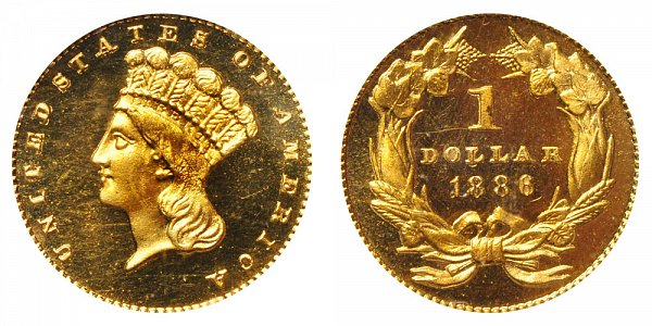 1886 Large Indian Princess Head Gold Dollar G$1