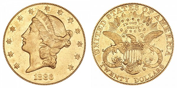 1886 Liberty Head $20 Gold Double Eagle - Twenty Dollars