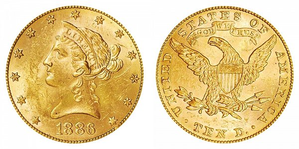 1886 Liberty Head $10 Gold Eagle - Ten Dollars